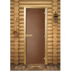 MW Дверь с порогом стеклянная бронза матовая