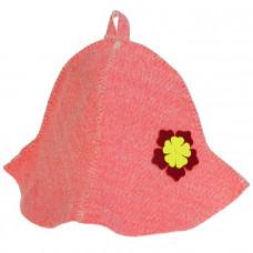 Шапка банная женская 'Колокольчик' красная с цветком