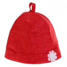 Шапка банная женская 'Дамский колпак' красная с цветком