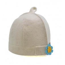 Шапка банная женская 'Дамский колпак' светлая с цветком