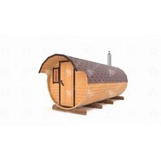 Баня-Бочка Стандарт (кедр) цельная 4м с двумя козырьками