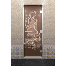 DW Дверь стекл для хамама 1900х800  8мм с рисунком
