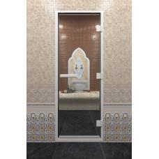 DW Дверь стекл для хамама Бронза с рисунком 8мм