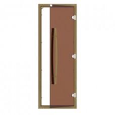 SAWO Дверь стеклянная с порогом 3 петли короб Кедр/Осина