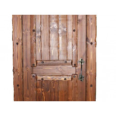 Элементы ковки на дверное полотно Добряк (8 накладок на углы+24 гвоздя) с 1стороны 4 шт, с др.сторон
