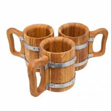 Набор пивной на 3 кружки, дуб