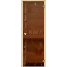 АКМА Ligth  Дверь стеклянная с гравировкой, оливка, кноб
