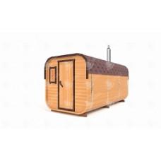 Баня-бочка Стандарт квадратн (кедр) цельная 4,5х2,1х2,1м, 2 отделения
