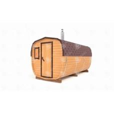 Баня-бочка ОКТА  (кедр) цельная 4,5х2,2х2,2 м, 2 отделения