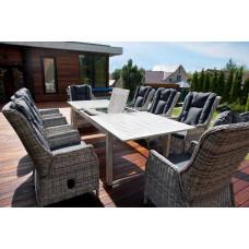 Набор садовой мебели стол ТОСКАНА (алюминий) + 6 кресел ВЕРОНА (коричн. ротанг)