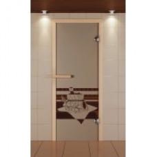 ALDO SM Дверь для сауны стекл. 690х1890 Бронза рис.Банный вечер кор.хвоя