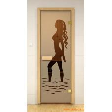 ALDO SM Дверь для сауны стекл. 690х1890 Бронза рис.Наоми кор.хвоя