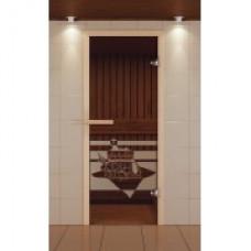 ALDO SM Дверь для сауны стекл. 690х1890 Бронза рис.Банный день кор.хвоя