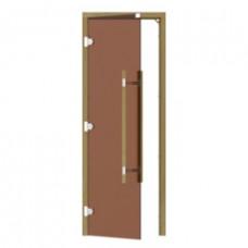 SAWO Дверь стеклянная без порога 3 петли, короб Кедр/Осина