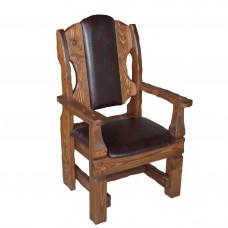 Кресло Добряк (кожа/ткань+спинка кожа/ткань) 710х620хh1170, светлый орех