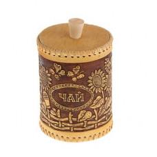 Туес круглый для специй 'Подсолнухи' (Чай) , береста