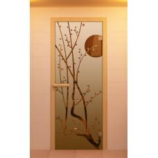 ALDO SM Дверь для сауны стекл. 690х1890 Бронза  рис.Сакура кор.хвоя