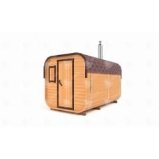 Баня-бочка Стандарт квадратн (кедр) цельная 3,5х2,1х2,1 м, 2 отделения