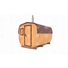 Баня-бочка ОКТА  (кедр) цельная 3,5х2,2х2,2 м, 2 отделения